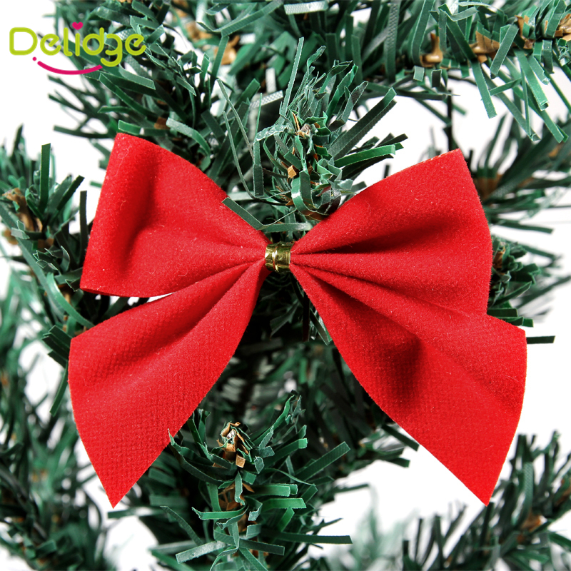 12PCS/ lot 5.7*5.7 cm Bow-Knot Christmas Tree Decoration Party Christmas Decoration Red And Gold Bow ChristmasTree Ornament(China (Mainland))