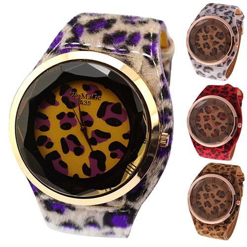 Oversized Women's Leatheroid Strap Charm Leopard Print Watches Quartz Wrist Watch NO181 5V7O 3Y3FD