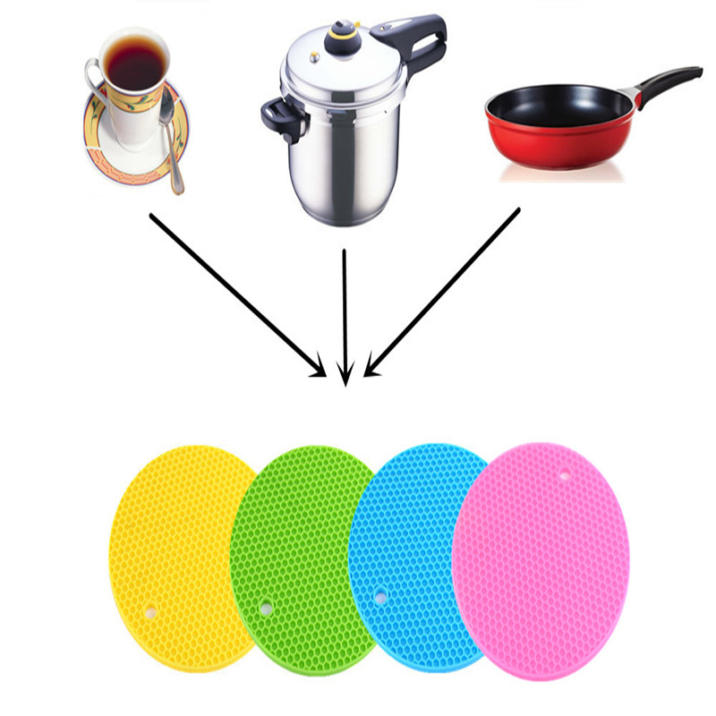1pcs Colorful Round Non-Slip Heat Resistant Mat Coaster Cushion Placemat Pot Holder Table Silicone Mat Kitchen Accessories(China (Mainland))