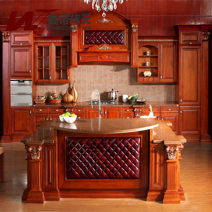 American Red Oak Solid Wood Kitchen Cabinet Luxury Fashion