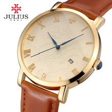 2016 Hot Men business Dragon wristwatch male watches fashion casual Japan quartz watch leather clock Top brand Julius 585 clock