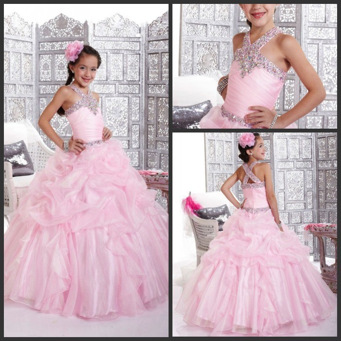 2014 Crystal Pink Child Bridesmaid Dresses Girls Party Gowns A-Line Beaded Cute New Arrival Girls Pageant Dresses Children(China (Mainland))