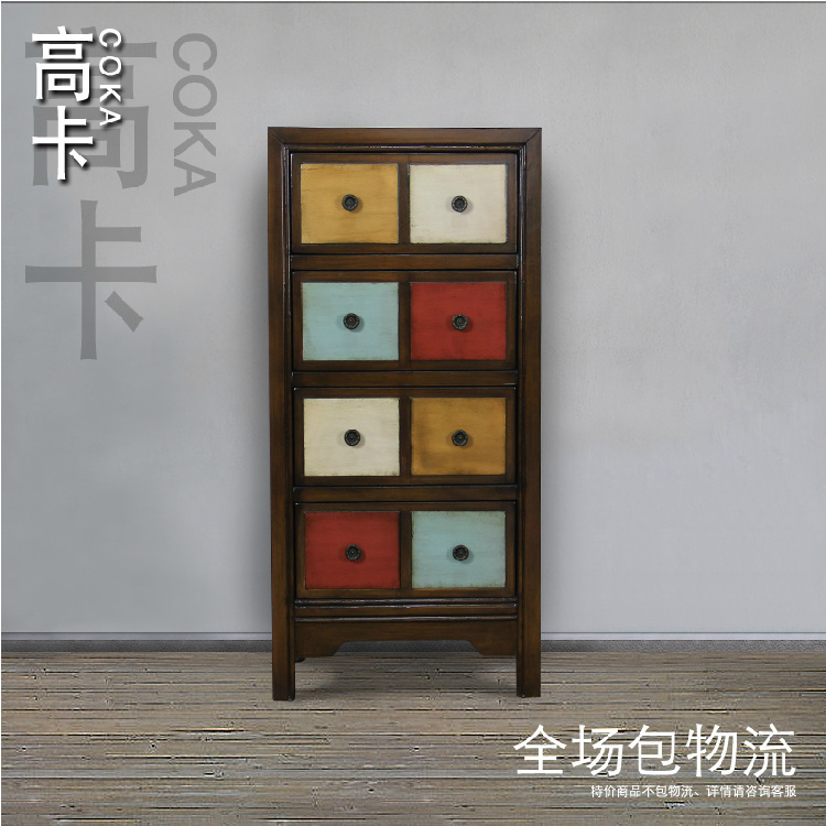 Modern furniture/Chest of Drawers/lockers/the drawers for storage /Rural colored drawing Mediterranean solid wood corner cabinet(China (Mainland))