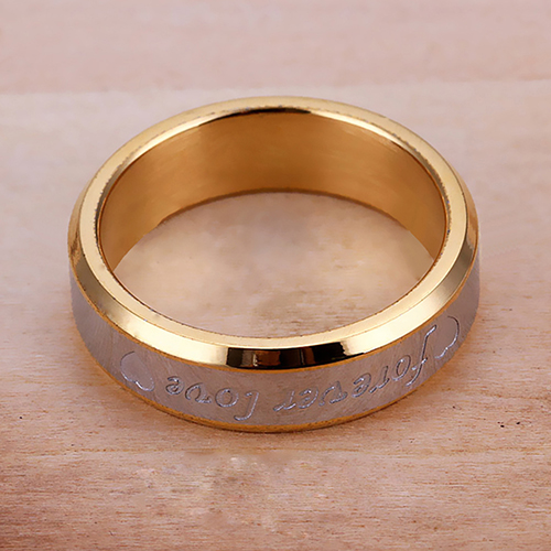 Women Men Forever Love Band Ring Engagement Engraving Couple Promise Gold Plated 6L84(China (Mainland))