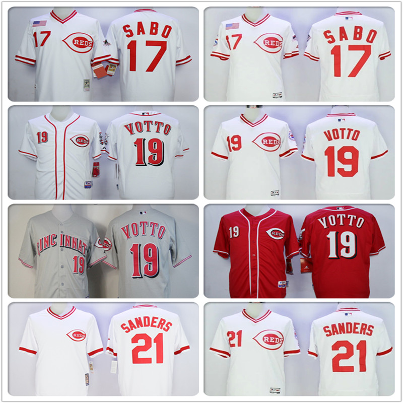 Cheap Cool Jersey Mens #19 Joey Votto #21 Deion Sanders Embroidery Logos Cincinnatis Baseball Jersey 100% stitched(China (Mainland))