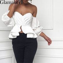 Glamaker Sexy off shoulder ruffle blouse shirt Fitness elegant  backless blouse blusas Spring slim beach women tops(China (Mainland))