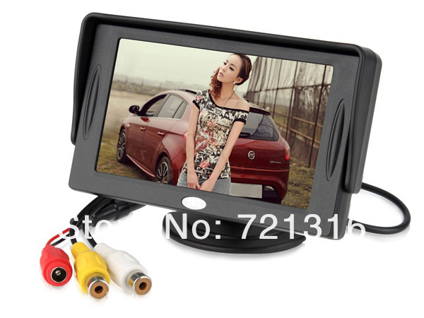 "4.3"" inch TFT LCD Car Video Rear View Automobile Monitor for VCR DVD GPS Camera w/ Baffle, Free Shipping"