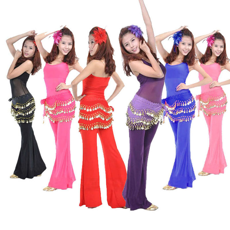 Nice Belly Dance Hip Chiffon Skirt Scarf Wrap Belt With Golden Coins in 3 Rows
