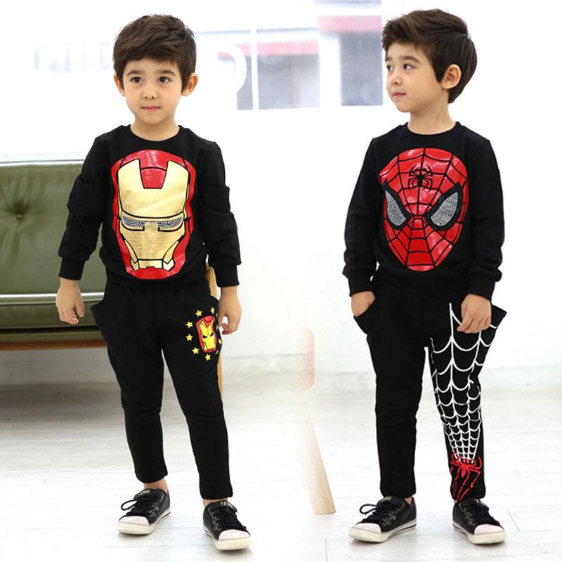 New 3y 10y Teen Boys Clothing Set Spiderman Coat Pants Children Sports Suit Fashion Boys Sets