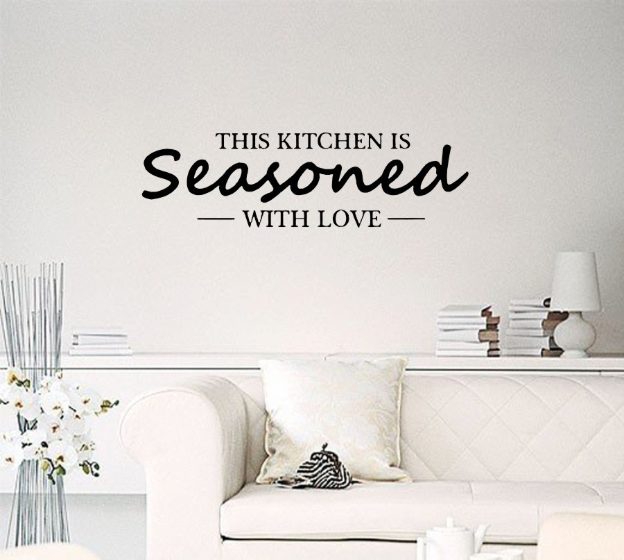 This kitchen is seasoned with love Removable Vinyl Decors Stickers living room bedroom Instrumen art(China (Mainland))