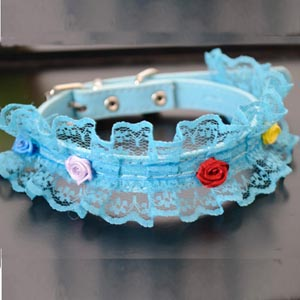New Japanese Designer Hot Sale Animals Goods Puppy Products Lace Rose Cute Cat Collars Pu Leather Chihuahua Dogs Collar Teddy(China (Mainland))