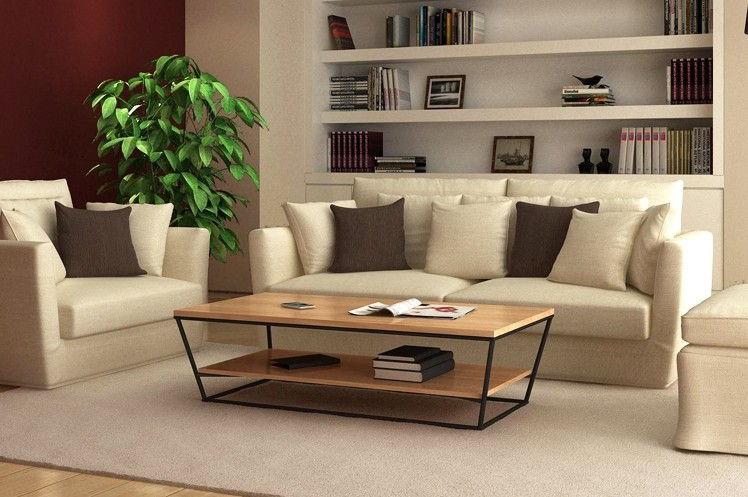 Table basse fer forge et bois occasion - Table basse en bois et fer ...