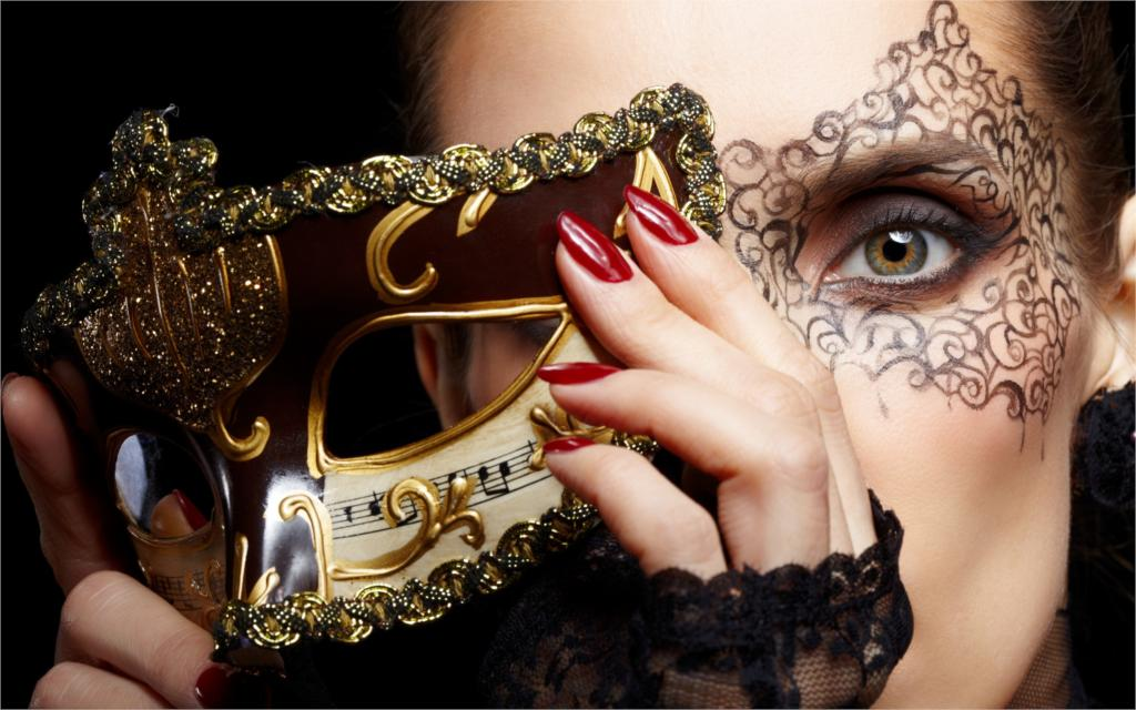 Style girl mask carnival gold face make up green eyed hands nails red 4 Sizes Home Decor Canvas Poster Print(China (Mainland))