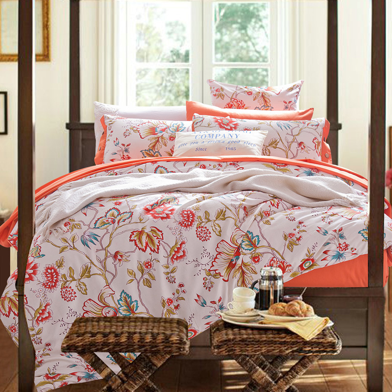 Hot sale 100 cotton luxury four pieces bedding sets high for Luxury cotton comforter sets