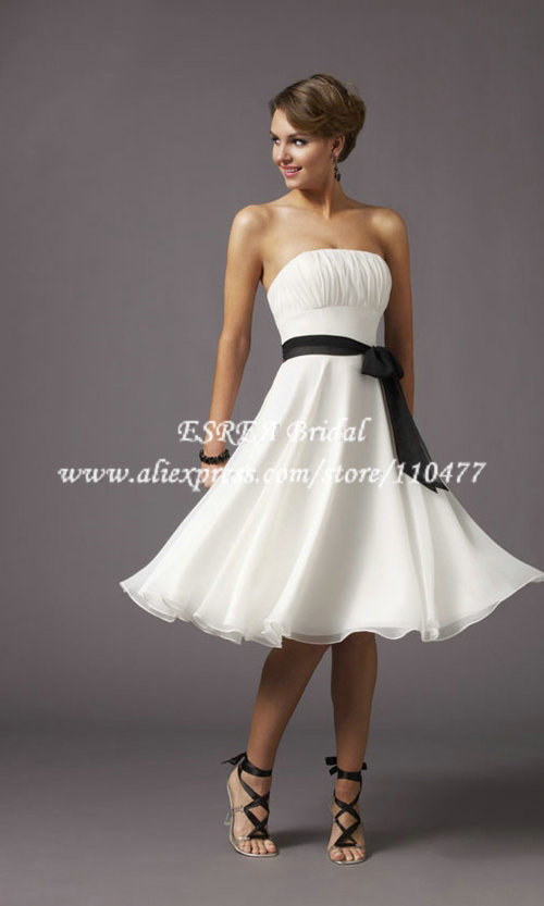 Wholesale strapless cheap simple short wedding dress white for White wedding dress cheap