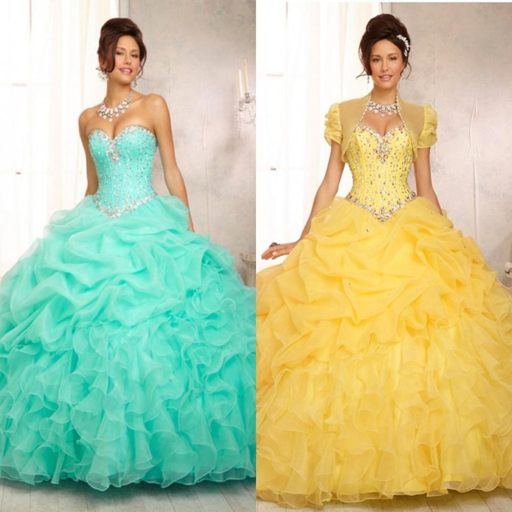 2016 por encargo de los vestidos del Quinceanera amarillo vestido de fiesta novia listones cristales piso