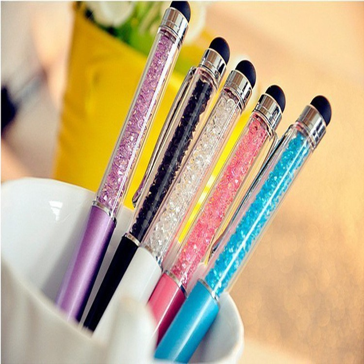 1 pcs/Lot Cute Crystal pen Diamond ballpoint pens Stationery ballpen 2 in 1 crystal stylus pen touch pen Free Shipping(China (Mainland))