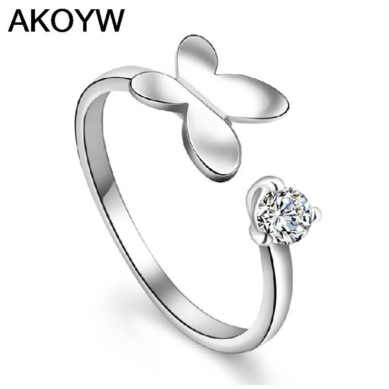 Silver plated minded butterfly opening ring female models fashion cute retro crystal jewelry manufacturers, wholesale jewelry(China (Mainland))