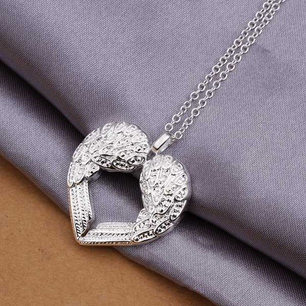 Wholesale Free Shipping 925 Silver Necklaces,925 Silver Fashion Jewelry Angel Heart Wings Necklace SMTN357(China (Mainland))