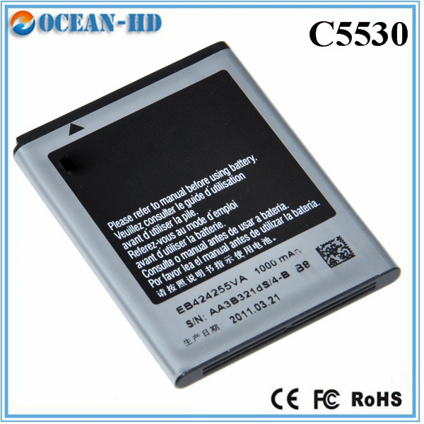 3.7v 1000mah mobile phone battery cells online for Samsung EB424255VA C5530 GT-S3353 GT-S3850(China (Mainland))