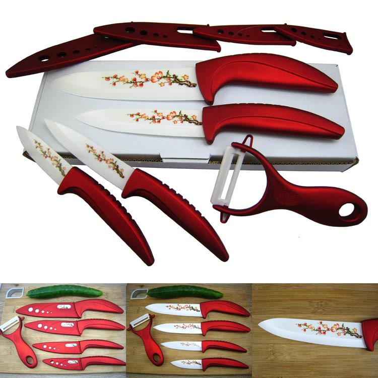 hot red ceramic knife set kitchen knives fruit chef 39 s knife kit 3 4 5 6 inch peeler. Black Bedroom Furniture Sets. Home Design Ideas