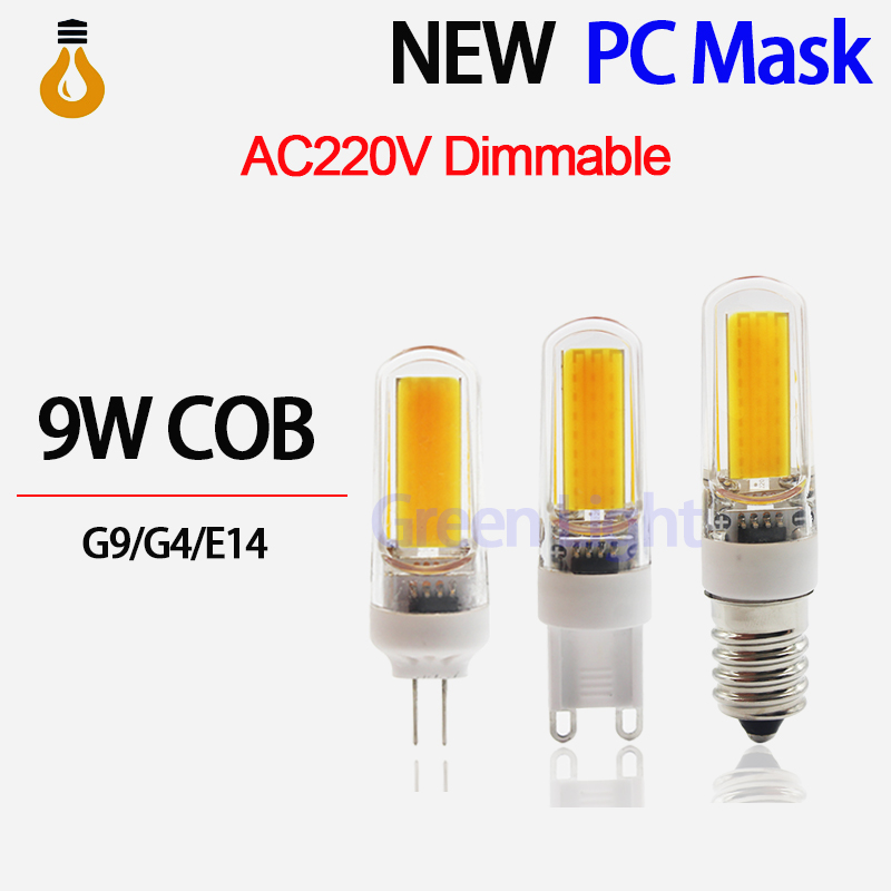 2016 NEW G4 G9 E14 COB LED Bulbs dimmer 9W AC220V LED lamp Replace dimmable for Crystal LED Light Bulb Spotlight Warm Cold White(China (Mainland))