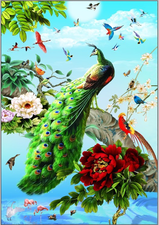 Hot ! Needlework Peacock Diamond Embroidery Painting Home Decoration Diamond Mosaic Painting Square Rhinestones of Pictures KQ24(China (Mainland))