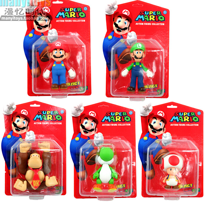 Free shipping 2015 Super Mario Bros MARIO Action Figure 5Inch PVC Super Mario Figure Model Toys with color box,new gift for kids(China (Mainland))