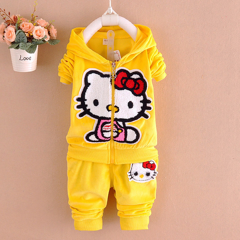 Hello Kitty Girls Clothes Cartoon Tracksuit For Girls Casual Baby Girls Clothing Autumn Winter Children Clothing Sets Kids Suit(China (Mainland))
