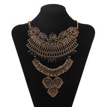 2016 Vintage Pendants & Necklaces Collier Bijoux Retro Bronze Chain Resin Rhinestone Necklace Retro Women Costume Jewelery(China (Mainland))