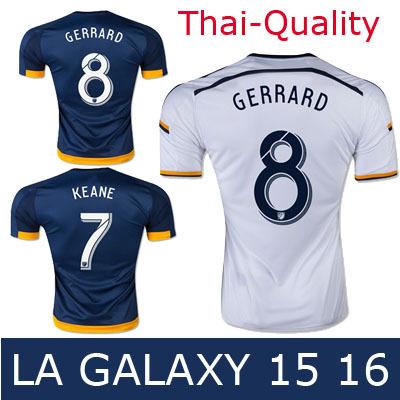 Thai-Quality 2015 Soccer Jerseys LA Galaxy GERRARD KEANE BECKHAM DONOVAN 15 16 LA GALAXY Football Jerseys 2016 Soccer Shirts(China (Mainland))