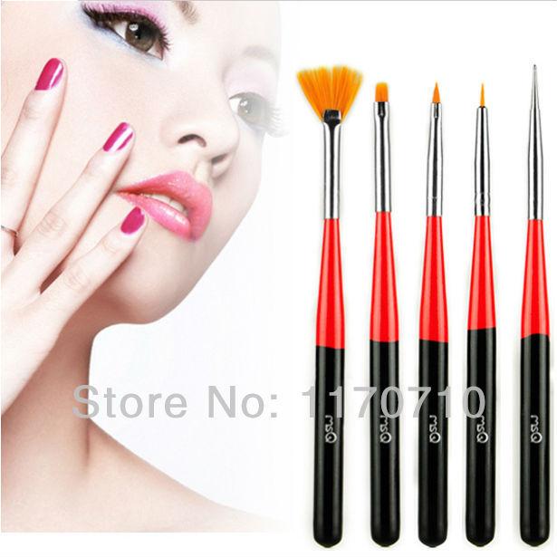 Free Shipping 2015 New Arrival High Quality 5pcs Set Black/Red Sables Nail Tools Nail Art Brush Design Drawing Nails Brushes(China (Mainland))