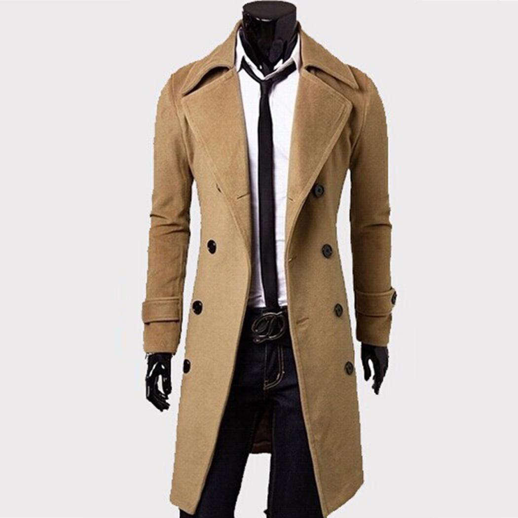 Мужской Траншеи Пальто Мужчины Классический Двубортный Траншеи Пальто Мужской Одежды Длинные Толстые Куртки Пальто Британский Стиль Пальто 4XL