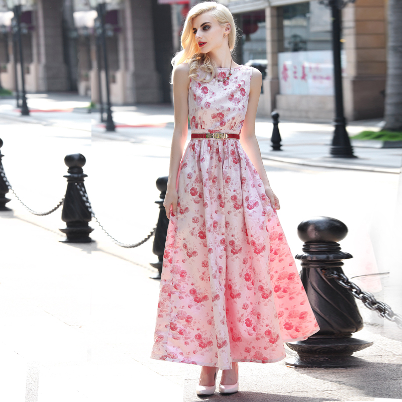 XXXL!European Print Long Dress 2016 Summer Plus Size Clothing Women O-Neck Sweet Floral Print Maxi Dress Sweetheart Day Dress(China (Mainland))
