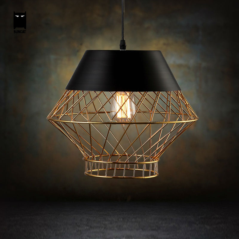 33cm Iron Black Gold Pendant Light Fixture Nordic Loft Vintage Birdcage Scandinavian Suspension Lamp for Living Dinning Room(China (Mainland))