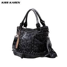 Diamonds Studs Design Vintage Trendy Style Denim Women bag Jeans Tote Bags Lady Shoulder bags Women's Messenger bags Dark/Blue(China (Mainland))