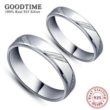 Кольца Стерлингового Серебра 925 Простой Стиль Влюбленных Кольца Micro скраб Обручальное кольцо Ювелирные Изделия Серебряные Кольца Пара для Женщин/мужчины(China (Mainland))
