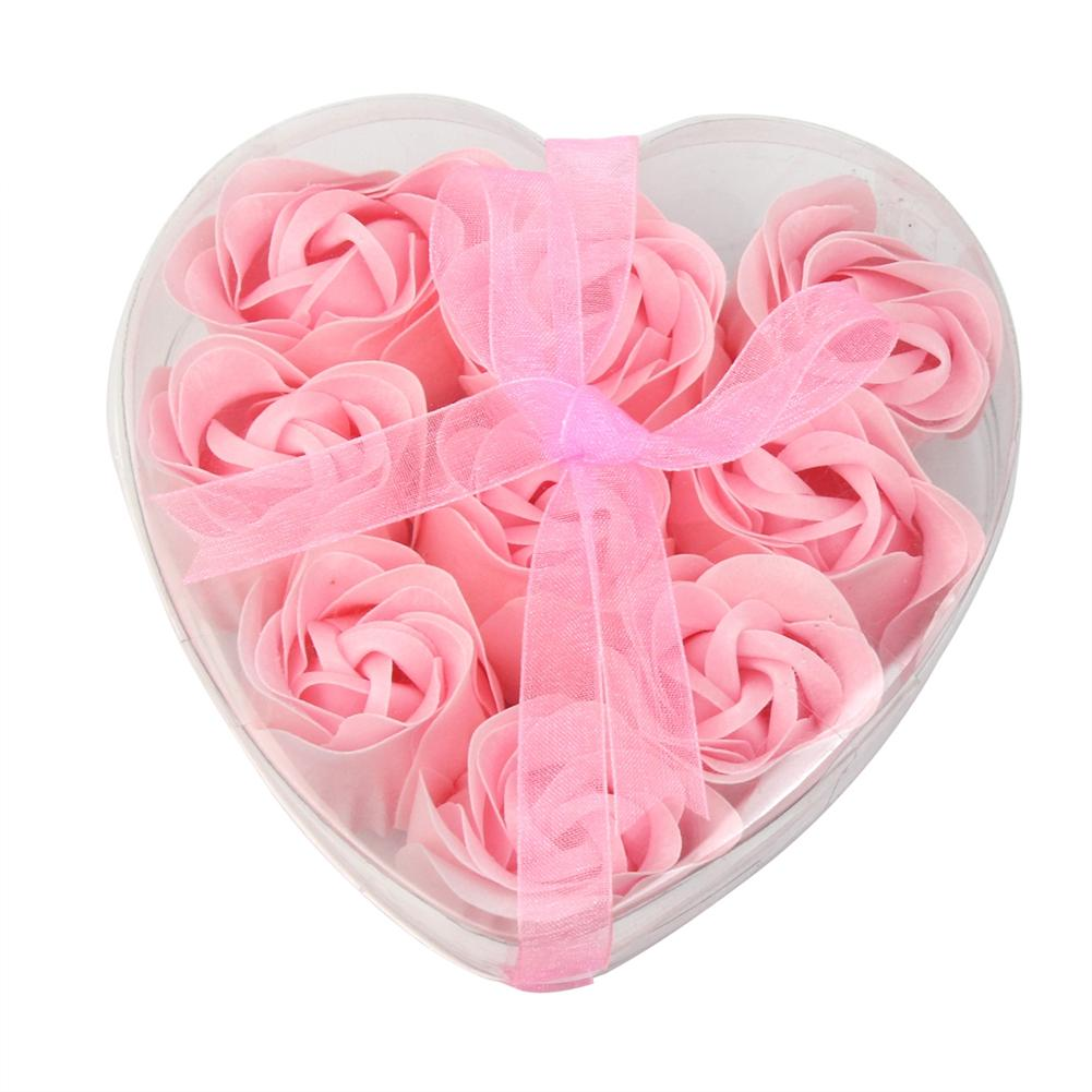 9pcs/Box Pink Bath Body Flower Soap Scented Heart Shaped Rose Petals Wedding Decoration Gifts Favor
