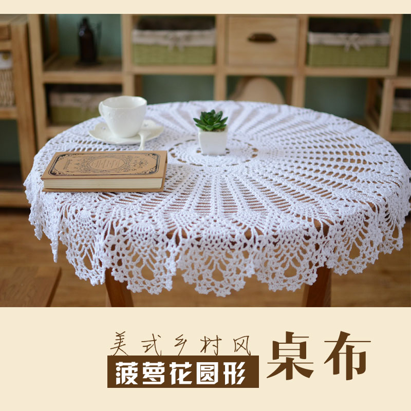 Vintage Style Crochet Wedding Table Cloth 100% Cotton Tafelkleed Tablecloth Round 75-80cm Doilies Pattern Luxury Tablecloths(China (Mainland))