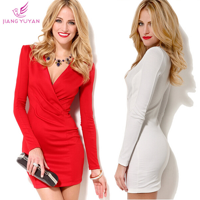 Vestidos New Fashion Casual Dress Women Ladies White Red Elegant V-neck Sheath Long Sleeve Winter Dresses Dropshipping - LUI store