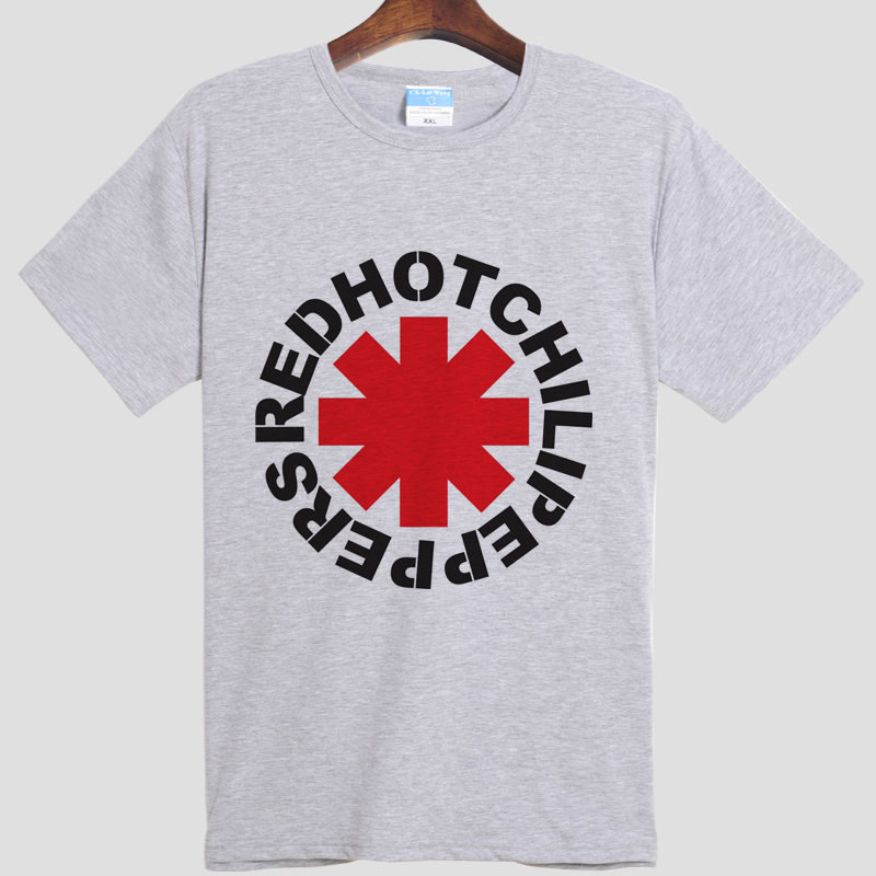 RHCP Red hot Chili Peppers Anthony Kiedis DIY men's short sleeve T-shirt cotton Round collar 003 gray white S-XXXL(China (Mainland))