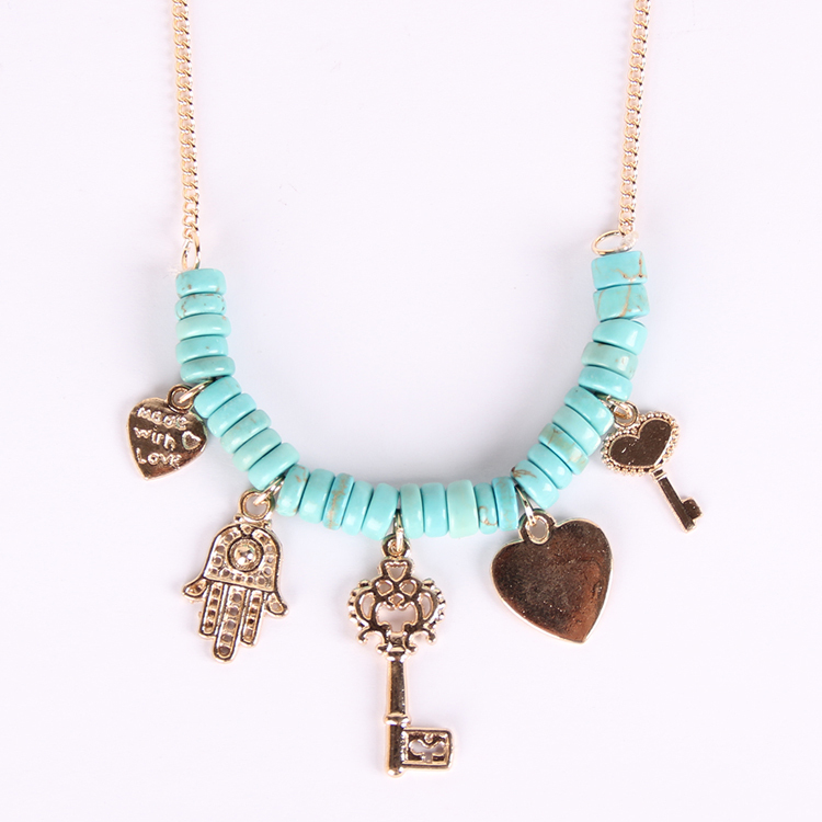 European USA popular key Necklace, multilayer natural stone turquoise necklace, indiana vintage jewelry - siwei fashion store