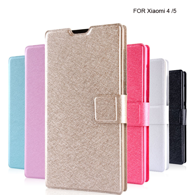 High Quanlity Magnetic Buckle Slim Wallet Style Flip Stand Leather Phone Cover Case For XiaoMi Mi5 Mi4 With Card Holder XSJ50(China (Mainland))