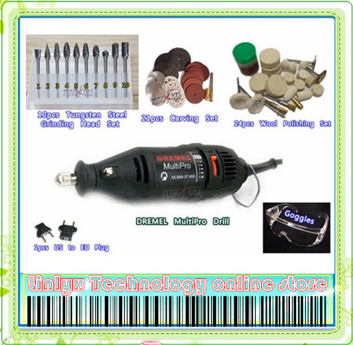 DREMEL MultiPro Drill + Carving Grinding &amp; Polishing Accessories Tungsten Steel Grinding Wool Polishing Top-level Kits Goggles<br><br>Aliexpress