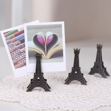 10pc/lot Eiffel Tower antique finish metal desk card note picture memo paper photo clip holder table wedding party place favor(China (Mainland))