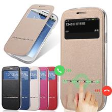 Luxury View Window Case For Samsung Galaxy S3 i9300 Flip Matte Leather Phone Bag Cover For Galaxy S3 Magnetic Sliding Answer