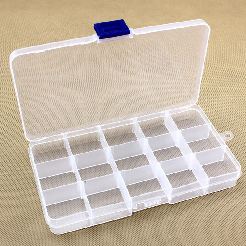 15 Grid Slots Adjustable Jewelry Storage Box Case Craft Organizer bags Beads Diamond Embroidery crystal Storage Box home garden(China (Mainland))