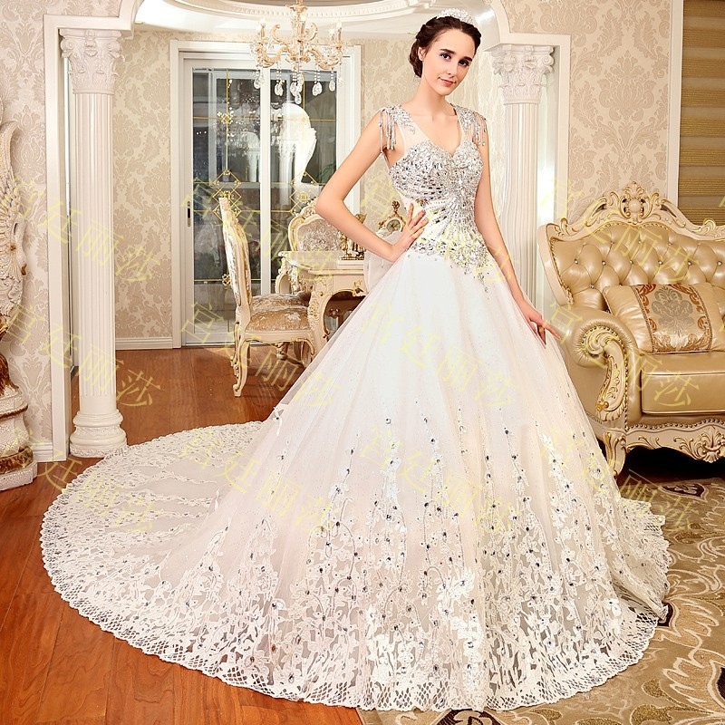 2015 luxurious crystal v neck wedding dress lace up sequin for Cute white wedding dresses
