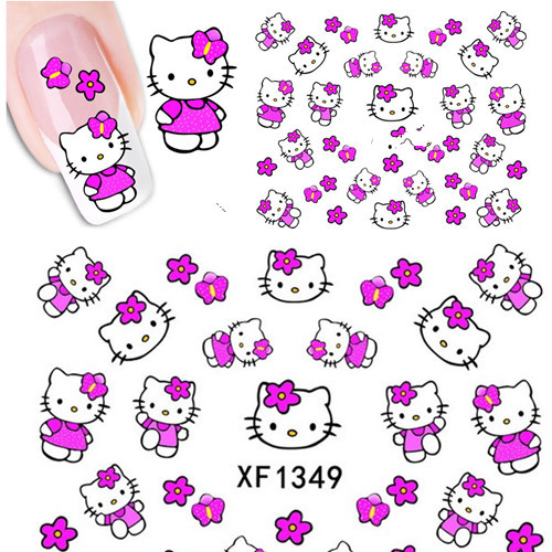 1 sheets Nail Art Tips 3D Water Transfer Nail Art Sticker Decal Cartoon Design Manicure Foils Stamp Tools #XF1349(China (Mainland))