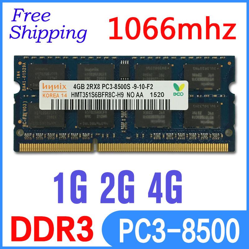 Hynix ddr3 1066 2gb 4gb 8gb pc3-8500 so-dimm laptop, ddr3 1066mhz ram 4gb pc3 8500 sdram notebook memoria ram ddr3 4gb 1066 mhz(China (Mainland))